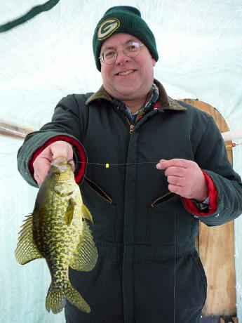 Bryan with a nice crappie from an area lake, February 2008.