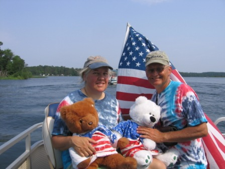 Jackie and Dave celebrate 4th of July on the Kells' pontoon boat, 2012.