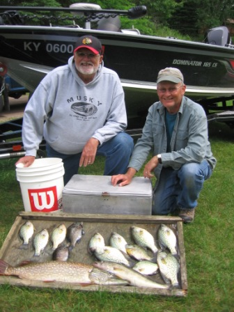 Dave R. and me with some crappies, a nice pike and walley from a nearby lake, June 16, 2015.