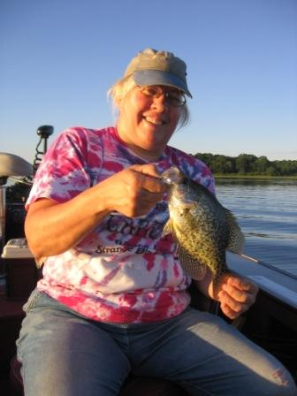 Jackie C. with a nice crappie from Benoit Lake.