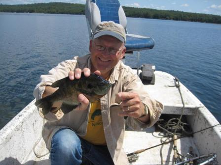 Dave Caithamer with a 9.75 inch bluegill from a Burnett County, Wisconsin lake, August, 2017.