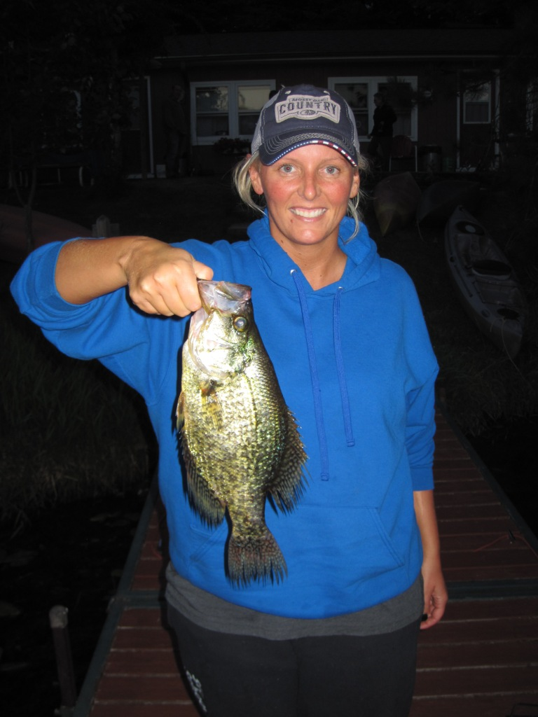 Stephanie C. with a new resort-record crappie.  The fish was 14-inches long!  Congrats Steph!  July 22, 2018.