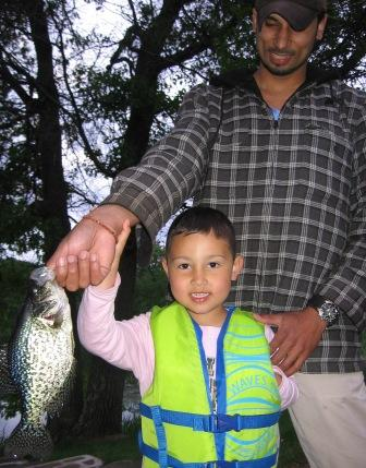 Josh showed his dad, Dave, how to catch crappies, spring 2008.