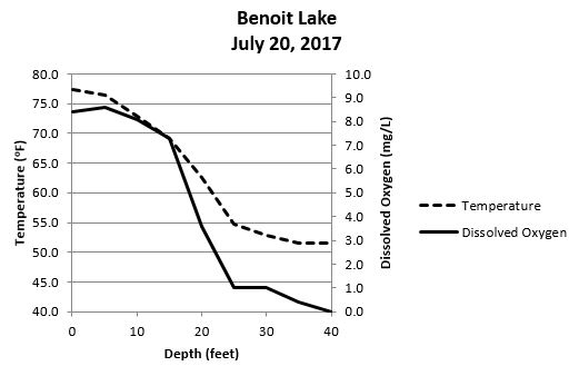 Temperature and oxygen profile of Benoit Lake, Burnett County, Wisconsin, July 20, 2017.