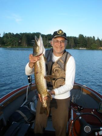 Ron C. caught and released this 33.5-inch pike on Benoit Lake in June 2018.  Rainbow Bay Resort near Spooner, Wisconsin.
