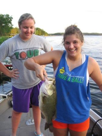 Savannah B. caught and released this chunky 20 inch largemouth while fishing on Benoit Lake on June 23.  She was using a crank bait.  Her friend, Halen V., appreciates the catch.