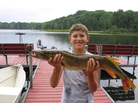 Trent J. got this 32 inch pike on a nearby lake, August, 2006.