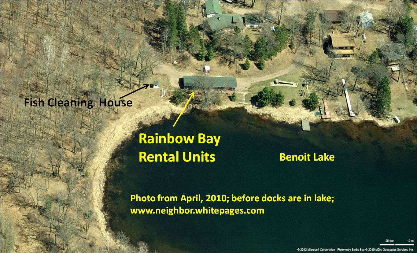 Aerial view of rental units and surrounding area before leaves are out or docks are in the water.