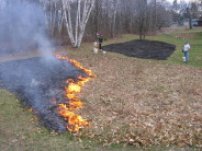 Prescribed fire on one of our prairie restoration plots, April 2007.
