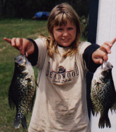 Linsay had a blast catching these spring crappies in our bay.