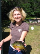 Niece Natalie J. with a nice pumpkinseed she caught.  At the time it was the resort record.